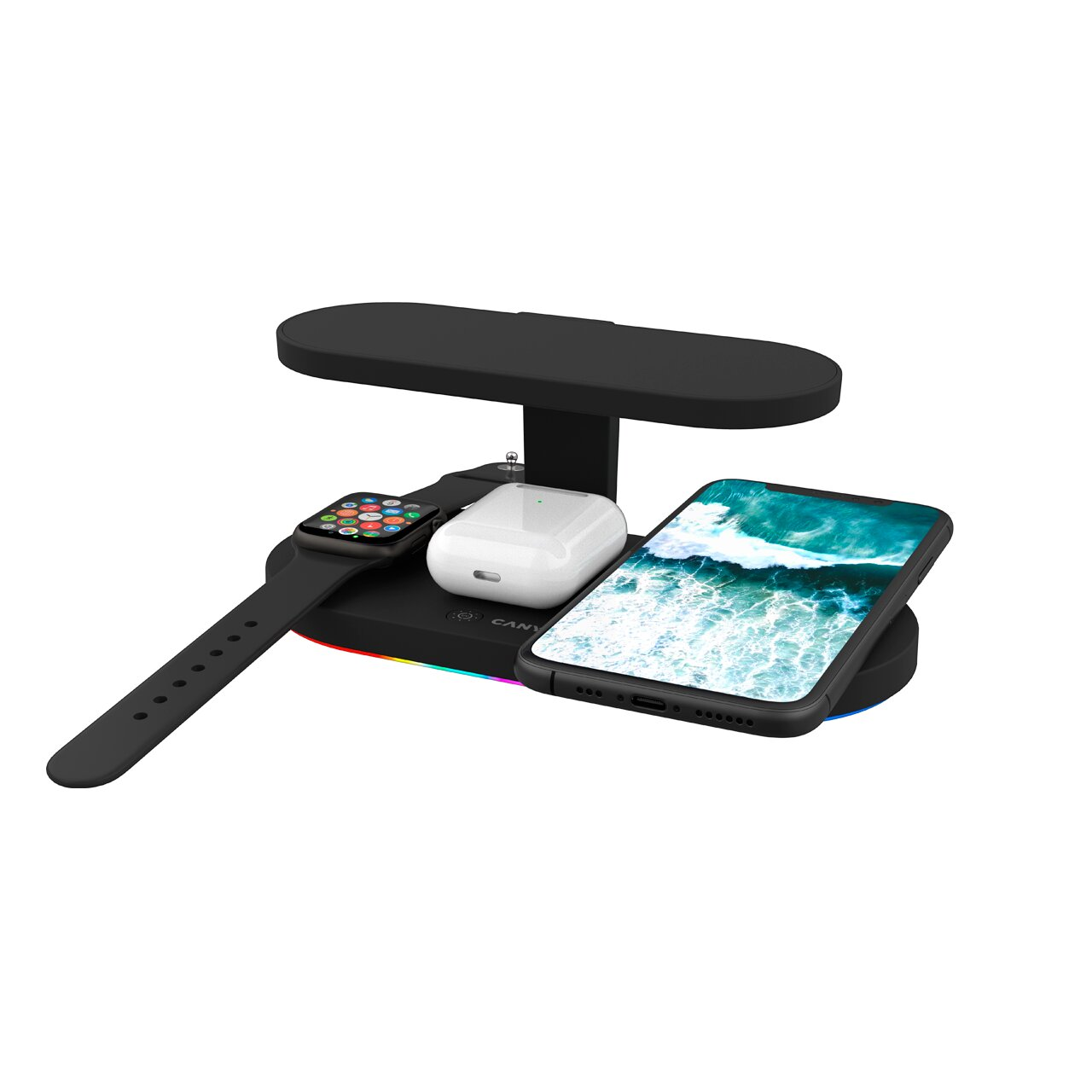 CANYON WS-501 5in1 Wireless charger, with UV sterilizer, with touch button for Running water light, Type c to USB-A cable length 1.2m,black