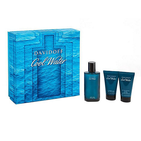 Rinkinys Davidoff Cool Water: EDT vyrams 75 ml + balzamas po skutimosi 50 ml + dušo gelis 50 ml